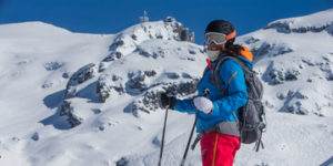 På ski i Engelberg i Sveits. Mount Titlis i bakgrunnen.
