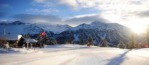 Preparert skibakke i Lenzerheide i Sveits