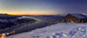 Vinterstemning og solnedgang i Narvik