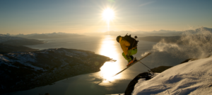 Midnight sun skier in Narvik, Norway